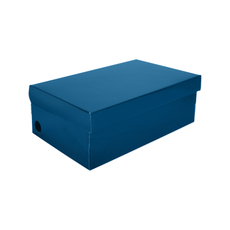 One Piece Shoe Box with Ventilation Pull Hole - Premium Gloss Navy Blue (White Inside)