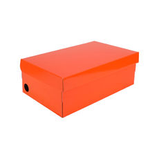 One Piece Shoe Box with Ventilation Pull Hole - Premium Gloss Orange (White Inside)