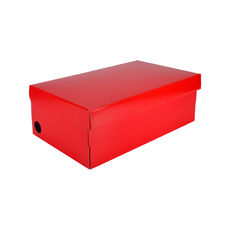 One Piece Shoe Box with Ventilation Pull Hole - Premium Gloss Red (White Inside)