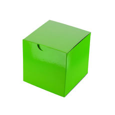 Candle Box 100mm Cube - Premium Gloss Lime Green (White Inside)