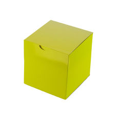Candle Box 100mm Cube - Premium Gloss Yellow (White Inside)