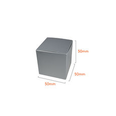 One Piece Cube Box 50mm - Gloss Silver  - Paperboard