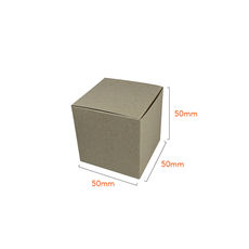 One Piece Cube Box 50mm - Recycled Brown Paperboard (285gsm)