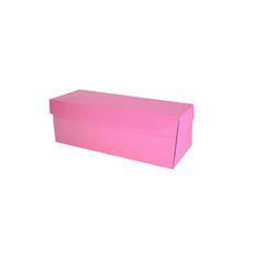 Single Wine Pack Gift Box Base & Lid - Premium Gloss Baby Pink (White Inside)