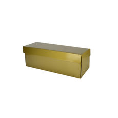 Single Wine Pack Gift Box Base & Lid - Premium Gloss Gold (White Inside)