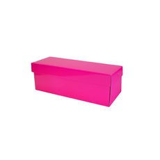 Single Wine Pack Gift Box Base & Lid - Premium Gloss Hot Pink (White Inside)