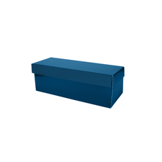 Single Wine Pack Gift Box Base & Lid - Premium Gloss Navy Blue (White Inside)