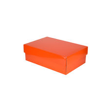 Double Wine Pack Gift Box Base & Lid - Premium Gloss Orange WITH REMOVABLE INSERT