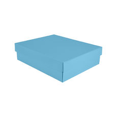 Triple Wine Pack Gift Box Base & Lid - Premium Gloss Baby Blue - Optional insert available (sold separately) (White Inside)