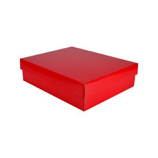 Triple Rectangle Gift Box Base & Lid - Premium Gloss Red