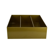 Optional Insert Triple Wine Pack Gift Box Base & Lid - Premium Gloss Gold (White Inside)