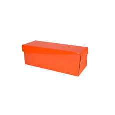 Champagne Gift Box Single 90mm Base & Lid - Premium Gloss Orange (White Inside)