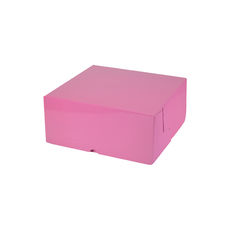 Cake Box 7 x 7 x 3 inches - Premium Gloss Baby Pink Cardboard (White Inside)