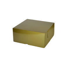 Cake Box 7 x 7 x 3 inches - Premium Gloss Gold Cardboard (White Inside)