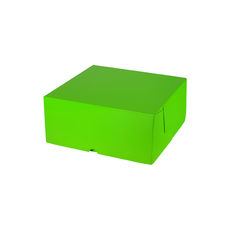 Cake Box 7 x 7 x 3 inches - Premium Gloss Lime Green Cardboard (White Inside)