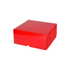 Cake Box 7 x 7 x 3 inches - Premium Gloss Red Cardboard (White Inside)