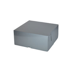 Cake Box 7 x 7 x 3 inches - Premium Gloss Silver Cardboard (White Inside)