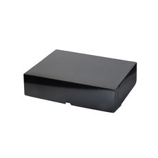 Cake Box 10 x 8 x 2.5 inches - Premium Gloss Black Cardboard (White Inside)