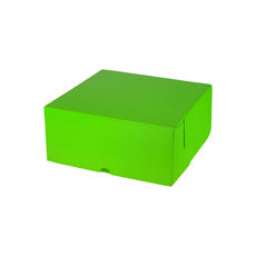 Cake Box 8 x 8 x 4 inches - Premium Gloss Lime Green Cardboard (White Inside)