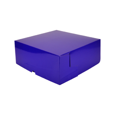 Cake Box 8 x 8 x 4 inches - Premium Gloss Purple Cardboard (White Inside)