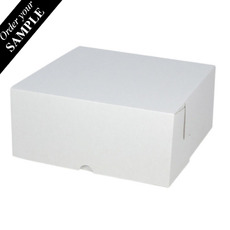 SAMPLE - Budget Cake Box 8 x 8 x 4 inches - Kraft White Outside/ Brown Inside Cardboard