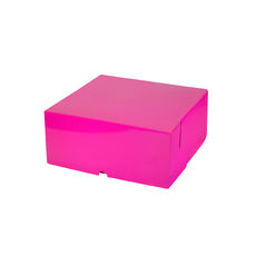 Cake Box 9 x 9 x 4 inches - Premium Matt Hot Pink Cardboard (White Inside) Temp out of Stock