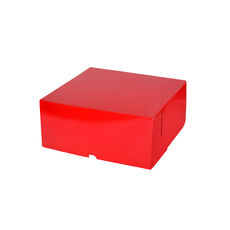 Cake Box 9 x 9 x 4 inches - Premium Gloss Red Cardboard (White Inside)