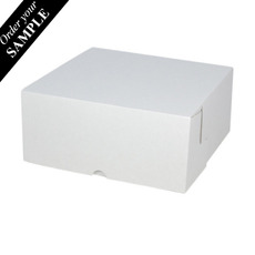SAMPLE - Budget Cake Box 9 x 9 x 4 inches - Kraft White Outside/ Brown Inside Cardboard