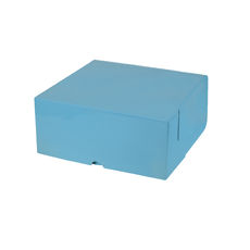 Cake Box 10 x 10 x 4 inches - Premium Gloss Baby Blue Cardboard (White Inside)