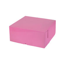 Cake Box 10 x 10 x 4 inches - Premium Gloss Baby Pink Cardboard (White Inside)