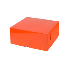 Cake Box 10 x 10 x 4 inches - Premium Matt Orange Cardboard (White Inside)