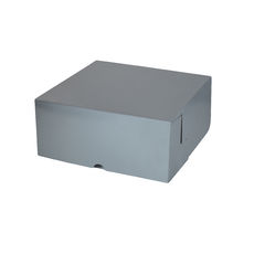 Cake Box 10 x 10 x 4 inches - Premium Gloss Silver Cardboard (White Inside)