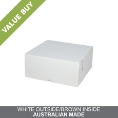 Budget Cake Box 10 x 10 x 4 inches - Kraft White Outside/ Brown Inside Cardboard