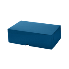 Cake Box 11 x 7 x 3.5 inches - Premium Gloss Navy Blue Cardboard (White Inside)