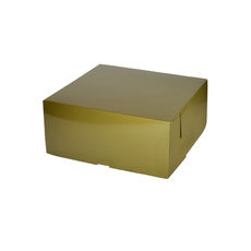 Cake Box 11 x 11 x 5 inches - Premium Gloss Gold Cardboard (White Inside)