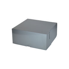 Cake Box 11 x 11 x 5 inches - Premium Gloss Silver Cardboard (White Inside)