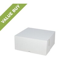 Budget Cake Box 12 x 12 x 5 inches - Kraft White Outside/ Brown Inside Cardboard
