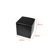 One Piece Cube Box 60mm - Gloss Black  - Paperboard