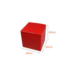 NOW $1.00ea - 300 x One Piece Cube Box 60mm - Gloss Red (White Inside)