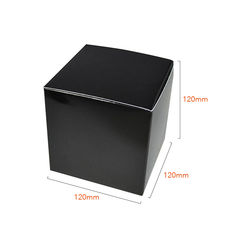 One Piece Cube Box 120mm - Gloss Black Paperboard (285gsm)