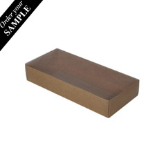 SAMPLE - Rectangle 10 Gift Box with Clear Lid- Kraft Brown