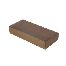 Rectangle 10 Gift Box with Clear Lid - Craft Brown (Brown Inside)