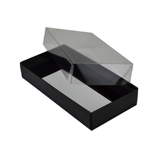 NEW SIZE Rectangle 10 Gift Box with Clear Lid - Matt Black (Minimum Order 100 units)