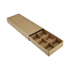 10 Pack Chocolate Box Slide over cover with removable inserts - Kraft Brown (Brown Inside) - Paperboard