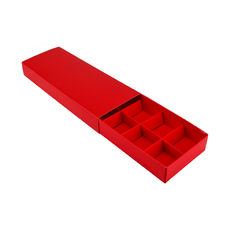 10 Pack Chocolate Box Slide over cover with removable inserts - Gloss Red  - Paperboard - Temp out of Stock