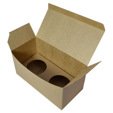 Double Cupcake Box with Base & Removable Insert - Kraft Brown - Paperboard