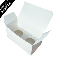 SAMPLE - Double Cupcake Box - Smooth White - Paperboard