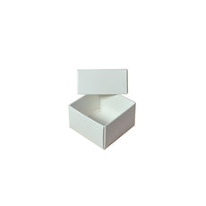 1 Macaroon & Choc Box - Smooth White Base & Lid (Macaroon lies flat - Base & Lid) - Paperboard