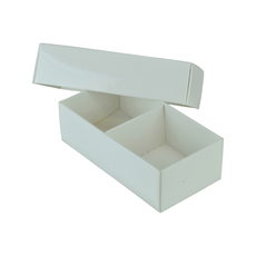 2 Macaroon & Choc Box - Gloss White - Base, Lid & Removable Insert (Minimum Order 100 units) (Macaroon lies flat) - Paperboard