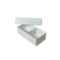 2 Macaroon & Choc Box - Smooth White Paperboard (Base & Lid with removable insert) (Macaroon lies flat)